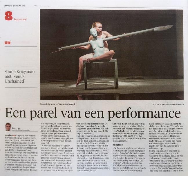"""Recensie Haarlems Dagblad. """"Een parel van een performance"""""""